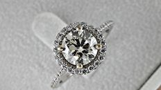 2.04 Ct round diamond ring made of 18 kt  gold - size 7,5