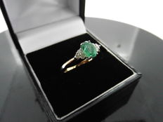 18k Gold Emerald and Diamond Ring - size 53