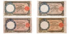 Italy - lot of 4 banknotes of 50 lire with she-wolf