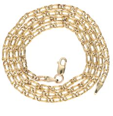 14 kt yellow gold fantasy link necklace – Length: 45.3 cm