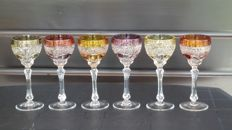 Bohemian crystal Jablonec - 6 coloured cut crystal wine glasses on high foot