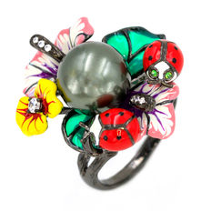 925 silver flower ladybirds ring set with enamel, freshwater pearl and zirconias