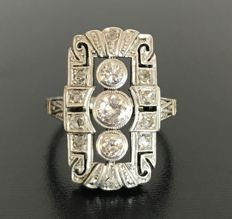 Antique Art Deco ring in 14kt grey gold completely paved with diamonds