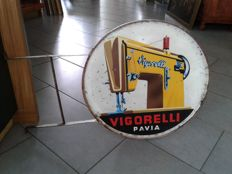 Sign - original double sided sign with bracket for Vigorelli sewing machines - Pavia, Italy - from the mid 1950s