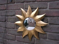 Solar mirror with convex mirror glass - Gold coloured - 2nd half of the 20th century