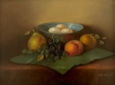 Unknown-still life with grapes, pears and peaches with dish