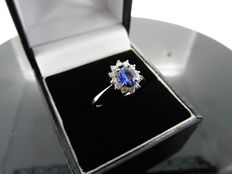 Platinum Sapphire and Diamond Cluster Ring - size  53