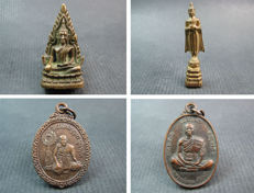 4 Buddha amulets - Thailand - 1962, 1982, 1992 and 1993.