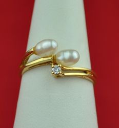 DIamond (0.03ct) and Pearls 18K Yellow Gold Ring - E.U Size 51/52 resizabl - No Reserve