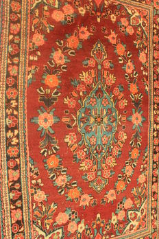 Old, high-quality hand-knotted Persian carpet – Sarough Mahal – made in Iran – plant dyes – 130 x 210 cm