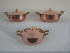 3 Thick-walled copper pans with lid - 4.1 kilos