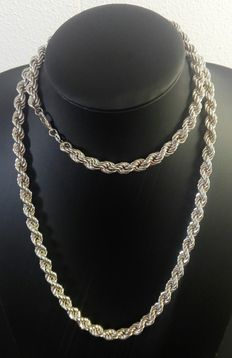 Twisted silver necklace, 925 k. Length: 91.4 cm – width:  0.8 cm – weight: 80.2 g