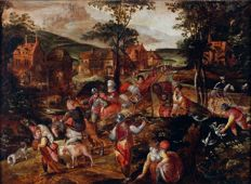 Hans Jordaens II (1581-1653), circle - Dated circa 1600/1610 - Travelers on a country road passing a Flemish village