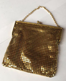 Vintage bag in mesh of Charlaine gold plated 14 ct, 1910-1940