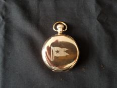 Gold plated pocket watch engraved with the flag of the White Star Line shipping company.