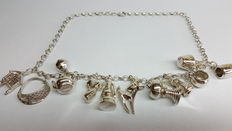 925 silver ladies'necklace with several beautiful charms, no reserve price!