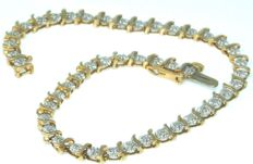 Yellow Gold Vintage  - 0.80 CT Diamond Tennis Bracelet Stamped  SI1K *** NO RESERVE PRICE ***