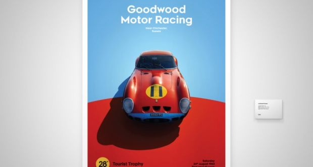Ferrari Collection - fine art print - Ferrari 250 GTO RED - GOODWOOD 1963 - 70CM X 50CM