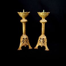 Pair of candle spikes in bronze - France - 19th century