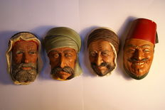 Four vintage Bossons faces, England, 1960s