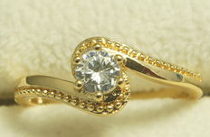 Gold ring with 0.75 ct Diamond  - size 9/ 18.5 / 59 -geen Reserve Prijs!!