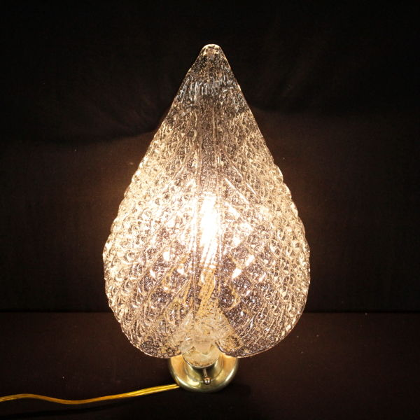 Leaf shaped processed glass wall Sconce with brass arm - mid 20th century
