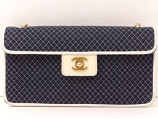 Chanel - Navy cotton-leather bag