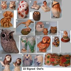 Collection of 22 Owl's All Signed, hand painted Ceramic / Porcelain in excellent condition.