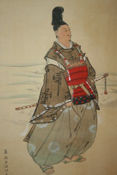 "Scroll painting ""Samurai at the sea""- Japan - early 19th century"