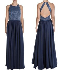 Vera Wang Blue Metallic Halter Evening Dress