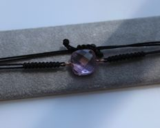 Bracelet set with amethyst, inlaid in 14 kt rose gold - Length goes up to 22 cm