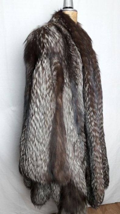 Silver-coloured fox fur coat
