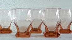 Five Art Deco lemonade glasses - solid foot