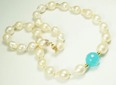 14k Gold & pearl necklace with Chalcedony - 60.5cm - Ø20x14mm pearls