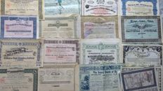 Collection of 30 shares for decoration.  Railways, mines, banks.