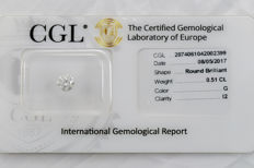 0.51 ct brilliant cut diamond  G  I2  ** Low Reserve **