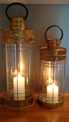 Two decorative high metal lanterns, second half of 20th century