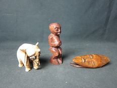 3 Antique African objects including a rare ivory elephant - LEGA-D.R. Congo