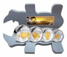Congo - 400 francs - Big Five Series 2013 - Rhino - 4 silver coins 24 carat gold edition-with fine box and certificate