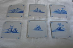 Lot with six Delft blue-white earthenware tiles