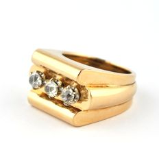 Antique Art Deco TANK Ring with 3 Diamonds  (Total +/- 1.00ct) Set on 18K Pink Gold Ring - E.U Size 52