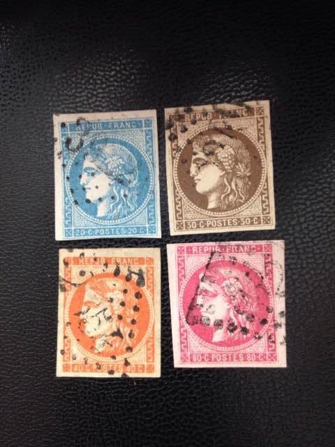 France 1870 - Selection of stamps from Bordeaux - Yvert no. 46A - 47 - 48 - 49