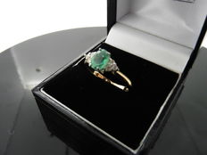 18k Gold Emerald and Diamond Ring - size 51