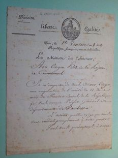 Letter from the Minister of the Interior Lucien Bonaparte (2nd brother of the first Consul) - 1800