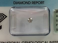Brilliant cut diamond, 0.17 ct. F SI 2 with IGI certificate no reserve price