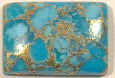 Natural Turquoise in Blue with Big Gold Flakes - 21,63 x 15,07 x 4,81 mm - 15,60 ct