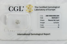 0.72 ct brilliant cut diamond  G  I2  ** Low Reserve **