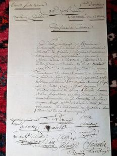 "Certificate of civic duty signed ""Vu General J B BERNADOTTE"" with 5  autograph words (1795), very rare, Napoleon will appoint him King of Sweden"