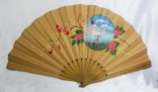 A very large pericón hand fan - Wood and hand painted and embroidered leaf - 37cms - Spain, early 20th century