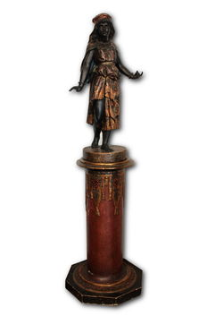 Polychrome wooden sculpture of  Moor Woman - Naples - 19th century